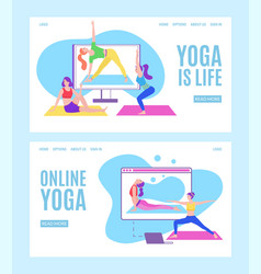 Yoga online with girls in meditation poses doing vector
