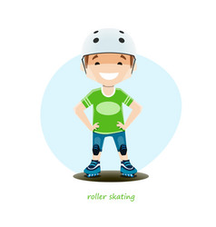 Young roller skater isolated on white background vector