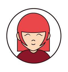 young woman close eyes cartoon character round vector image