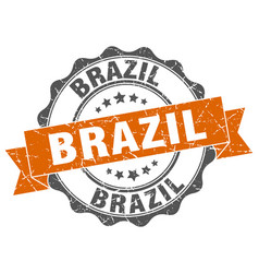 brazil round ribbon seal vector image vector image