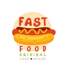 fast food logo original design badge with hot dog vector image vector image