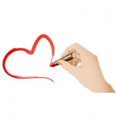 lipstick heart vector image