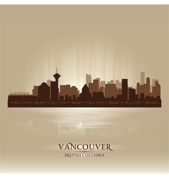 Vancouver British Columbia skyline city silhouette vector image vector image