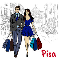 woman and man in pisa vector image vector image