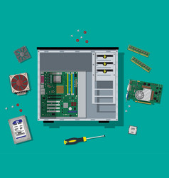 assembling pc personal computer hardware vector image