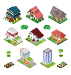 Isometric City Buildings Houses and Cottages vector image