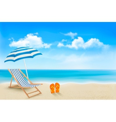 Seaside view with an umbrella beach chair and a vector image vector image