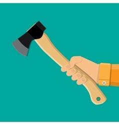 Axe ax hatchet with wooden handle in hand vector image vector image