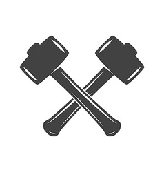 Two crossed hammers isolated on white background vector image vector image
