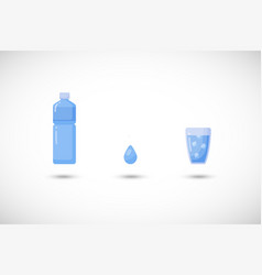water flat icon set vector image