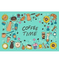 Coffee outline collection vector