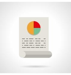 Document with pie chart flat icon vector image