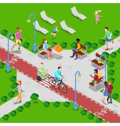 Isometric City Park Active People vector image vector image