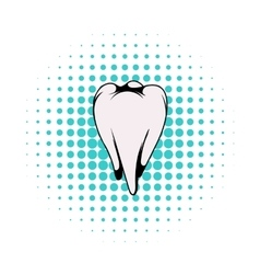 White tooth icon comics style vector image