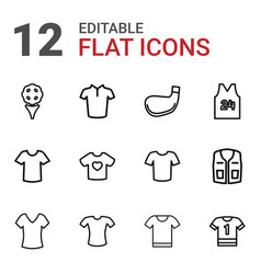 12 tee icons vector