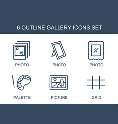 6 gallery icons vector