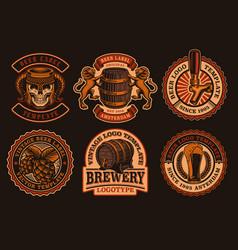 a set vintage beer emblems vector image