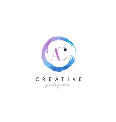 ac letter logo circular purple splash brush vector image