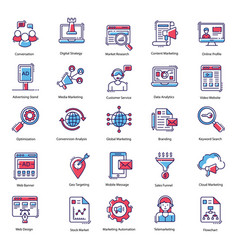 advertising icons pack vector image