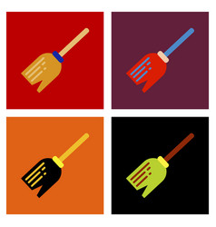 Assembly flat icons halloween witchs broom vector