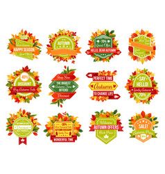 autumn sale discount promo or fall seasonal icons vector image