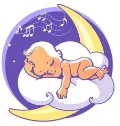Baby sleeping on moon vector image
