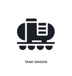 Black tank wagon isolated icon simple element vector