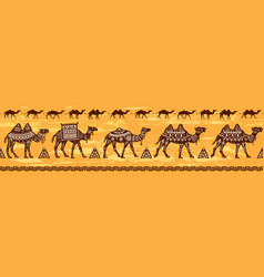 Border with camel caravan and ethnic motifs vector