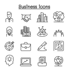business icon set in thin line style vector image