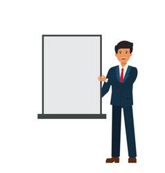 businessman showing white presentation board vector image