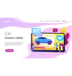 Car review video concept landing page vector