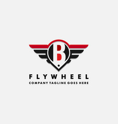 Cars logo wheel and wings with letter b vector