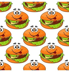Cartoon cheeseburger seamless pattern vector image
