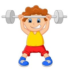 Cartoon lifting barbell vector