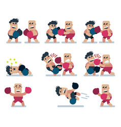 characters boxing game flat icon man cartoon vector image
