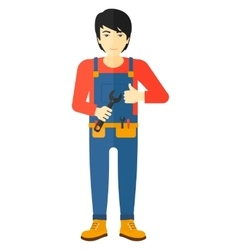 Cheerful repairman with spanner vector