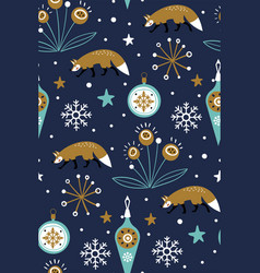 christmas background with foxes and flowers can vector image