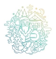 Christmas Card - line design vector image