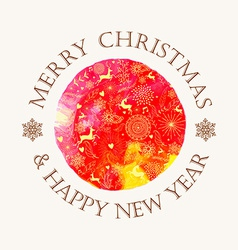 Christmas circle watercolor greeting card vector