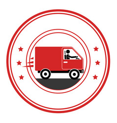 Circle emblem of truck with wagon vector