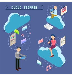 Cloud Storage Isometric Computer Technology vector