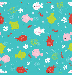 colorful fish cartoon seamless pattern vector image