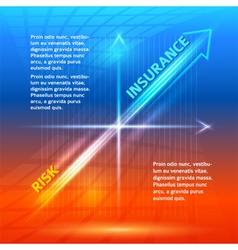 concept insurance risk hot orange blue background vector image