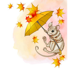 Cute little mouse flying on an umbrella vector