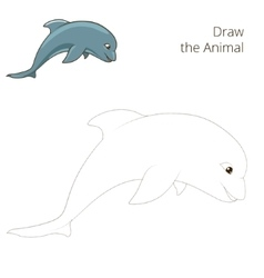 Draw fish animal dolphin educational game vector