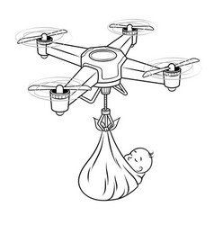 Drone stork with newborn bacoloring vector
