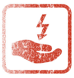 Electricity supply hand framed textured icon vector