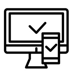 electronic devices with approval line icon vector image