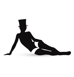 erotic silhouette of the girl in style of cabaret vector image
