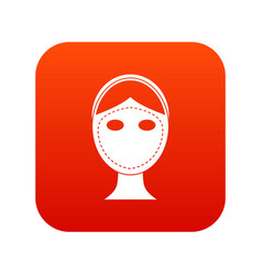 Face marked out for cosmetic surgery icon digital vector